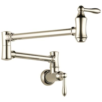 Polished Nickel 2-Handle Wall Mount Pot Filler Residential Kitchen Faucet