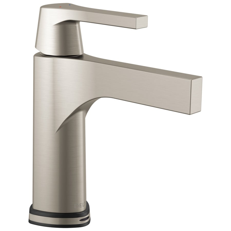 Delta Zura Stainless 1-Handle Single Hole/4-in Centerset WaterSense Bathroom Faucet Drain Included