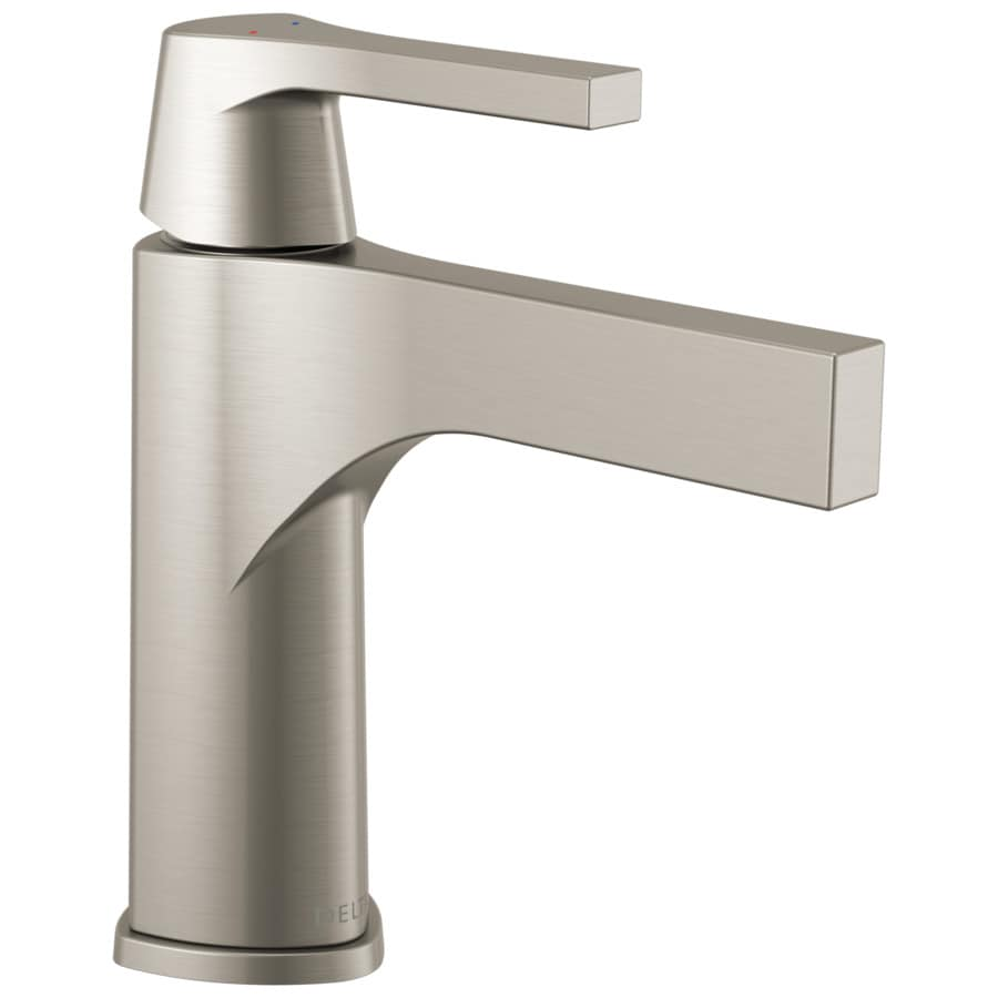 Delta Zura Stainless 1-Handle Single Hole/4-in Centerset WaterSense Bathroom Faucet (Drain Included)
