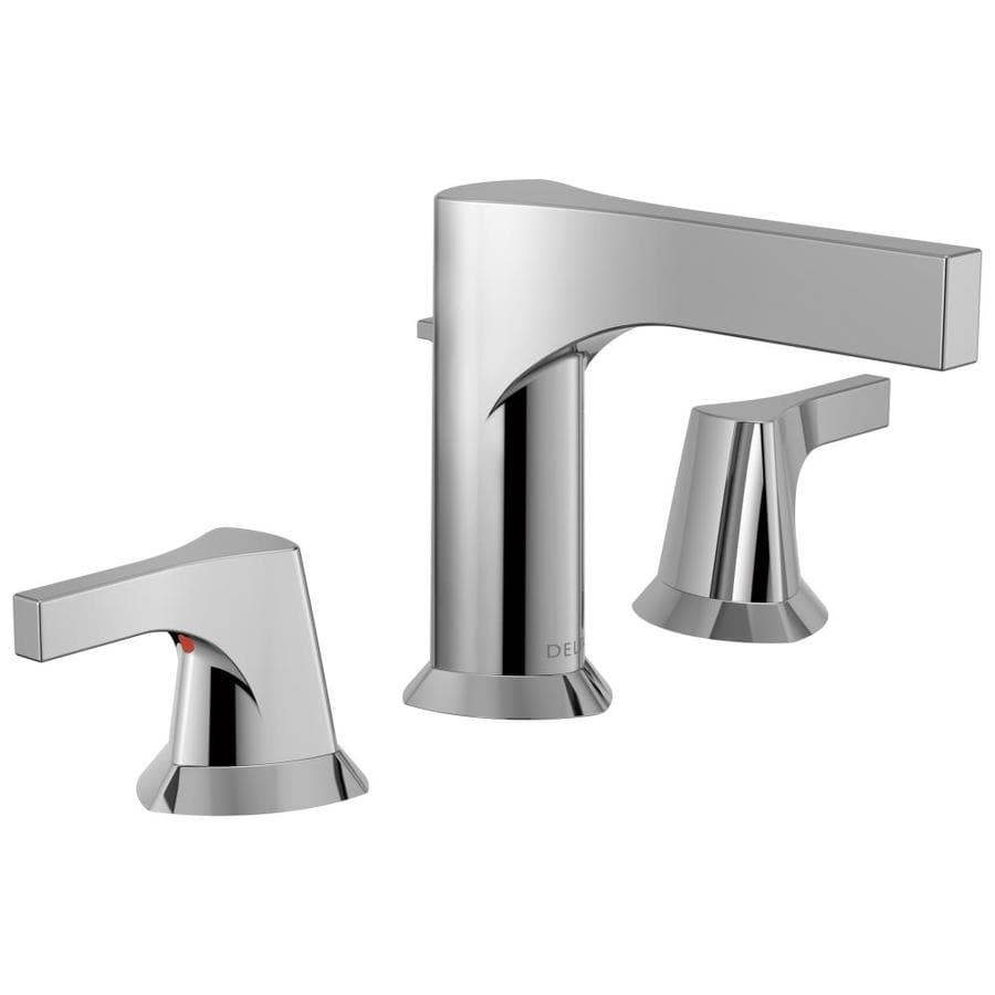 Shop delta zura chrome 2 handle widespread bathroom sink faucet at for Delta widespread bathroom faucet
