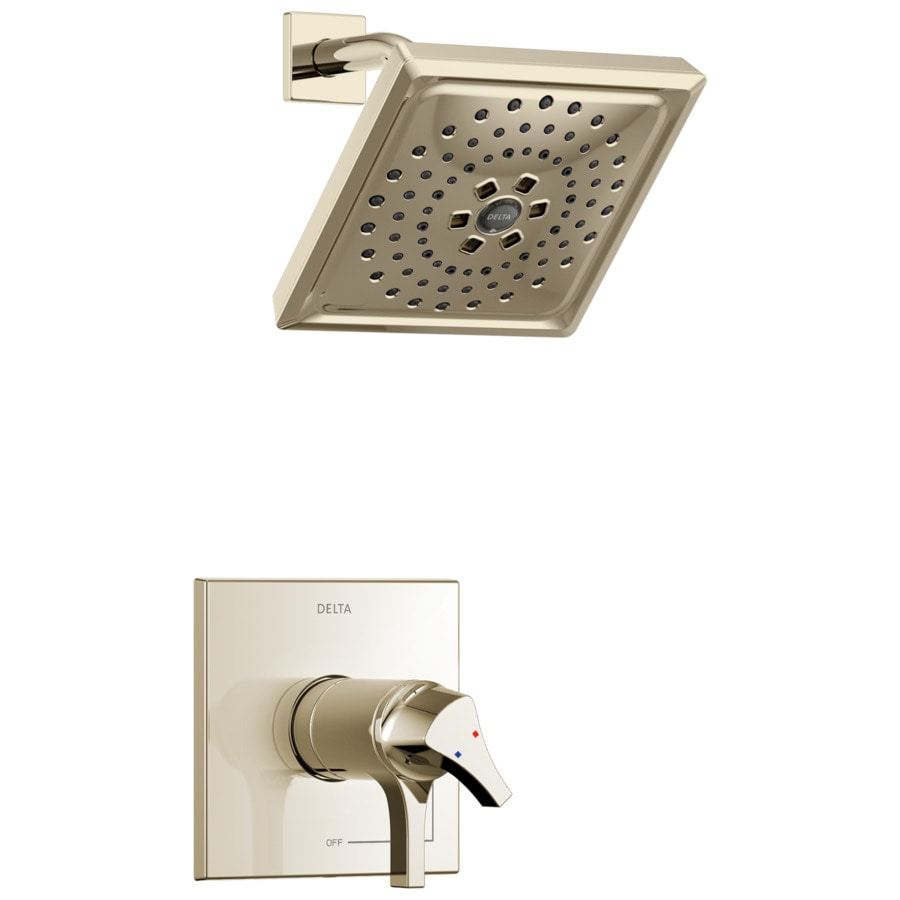 Delta Zura Polished Nickel 1-Handle WaterSense Shower Faucet Trim Kit with Multi-Function Showerhead