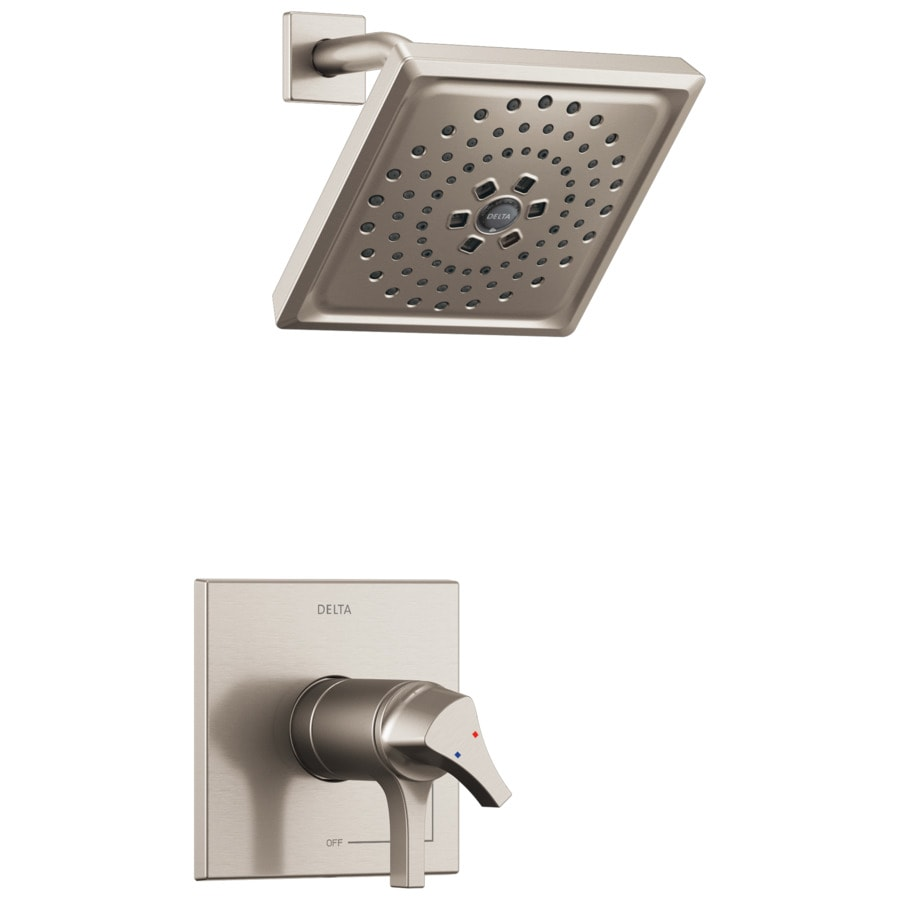 Delta Zura Stainless 1-Handle WaterSense Shower Faucet with Multi-Function Showerhead