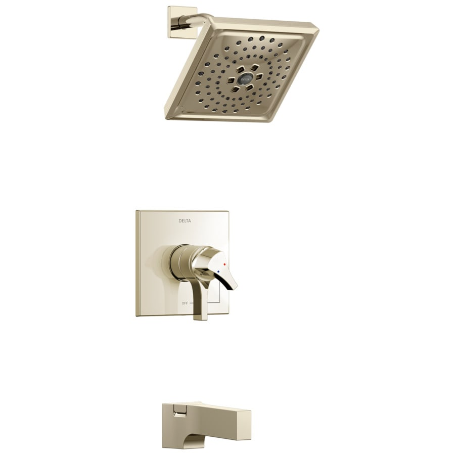Delta Zura Polished Nickel 1-Handle WaterSense Tub and Shower Faucet with Multi-Function Shower Faucethead