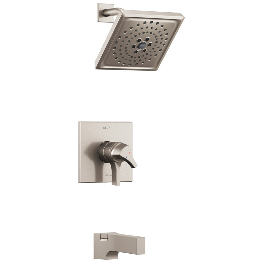 Delta Zura Stainless 1-Handle WaterSense Tub and Shower Faucet with Multi-Function Shower Faucethead