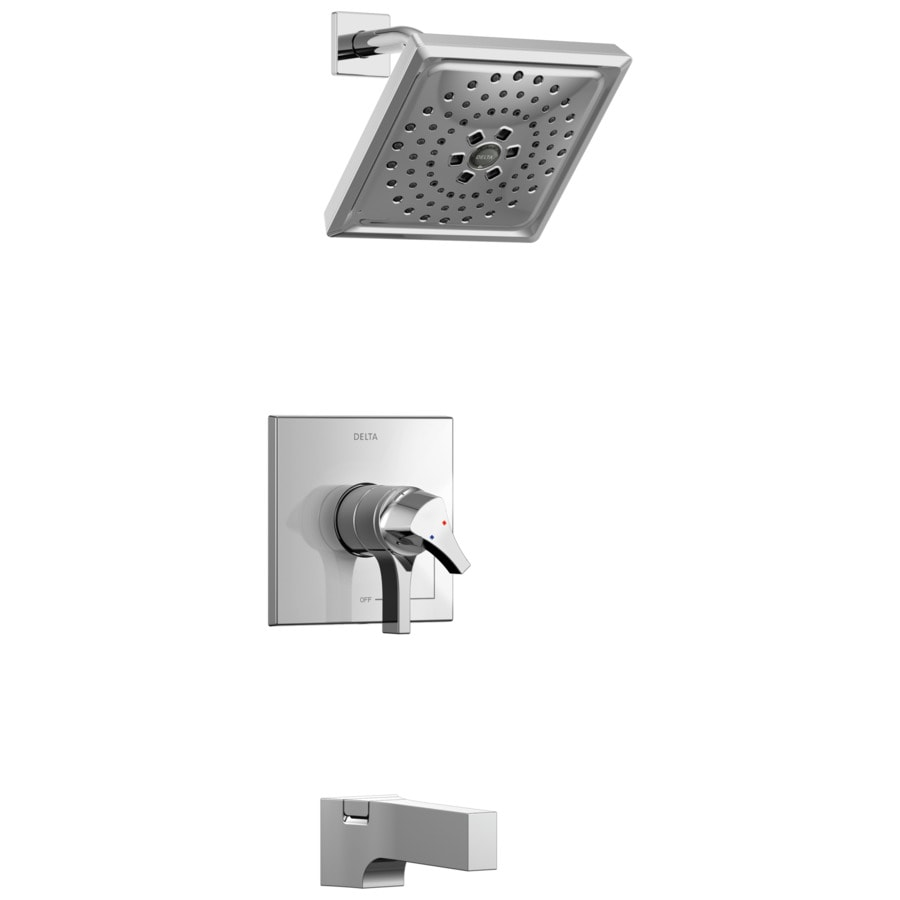 Delta Zura Chrome 1-Handle WaterSense Tub and Shower Faucet with Multi-Function Shower Faucethead