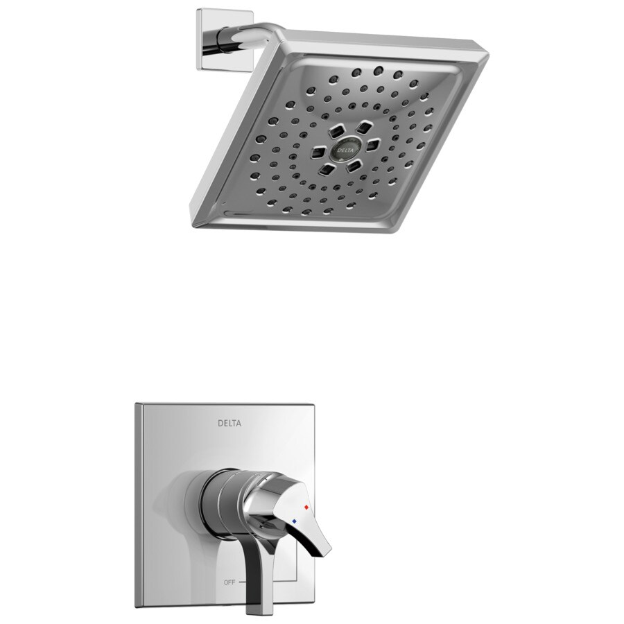 Delta Zura Chrome 1-Handle WaterSense Shower Faucet Trim Kit with Multi-Function Showerhead