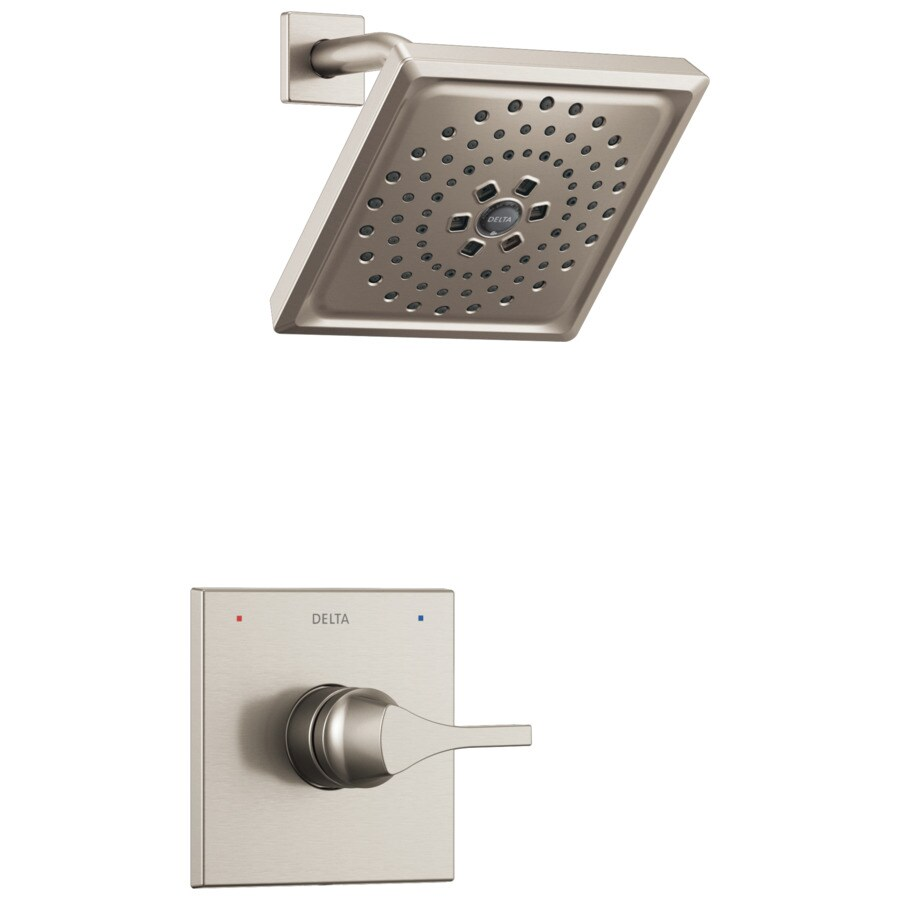 Delta Zura Stainless 1-Handle WaterSense Shower Faucet Trim Kit with Multi-Function Showerhead