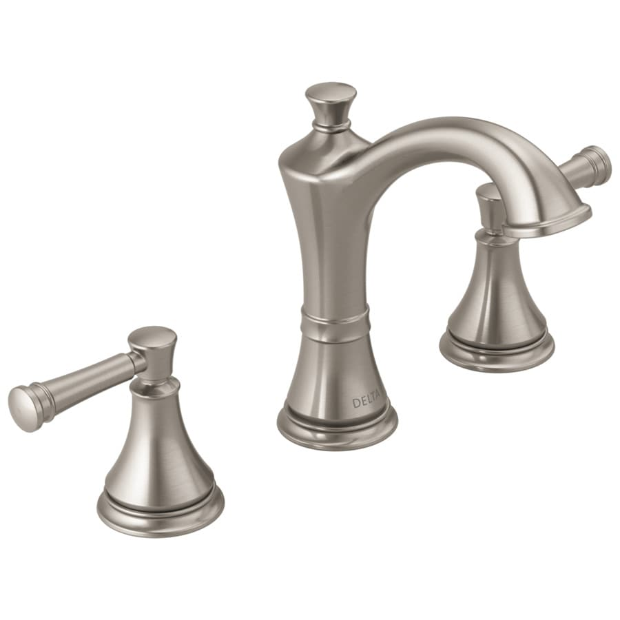 Shop delta valdosta spotshield brushed nickel 2 handle widespread bathroom sink faucet at for Delta widespread bathroom faucet