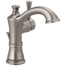 Delta Valdosta Spotshield Brushed Nickel 1-handle Single Hole/4-in Centerset WaterSense Bathroom Sink Faucet with Drain