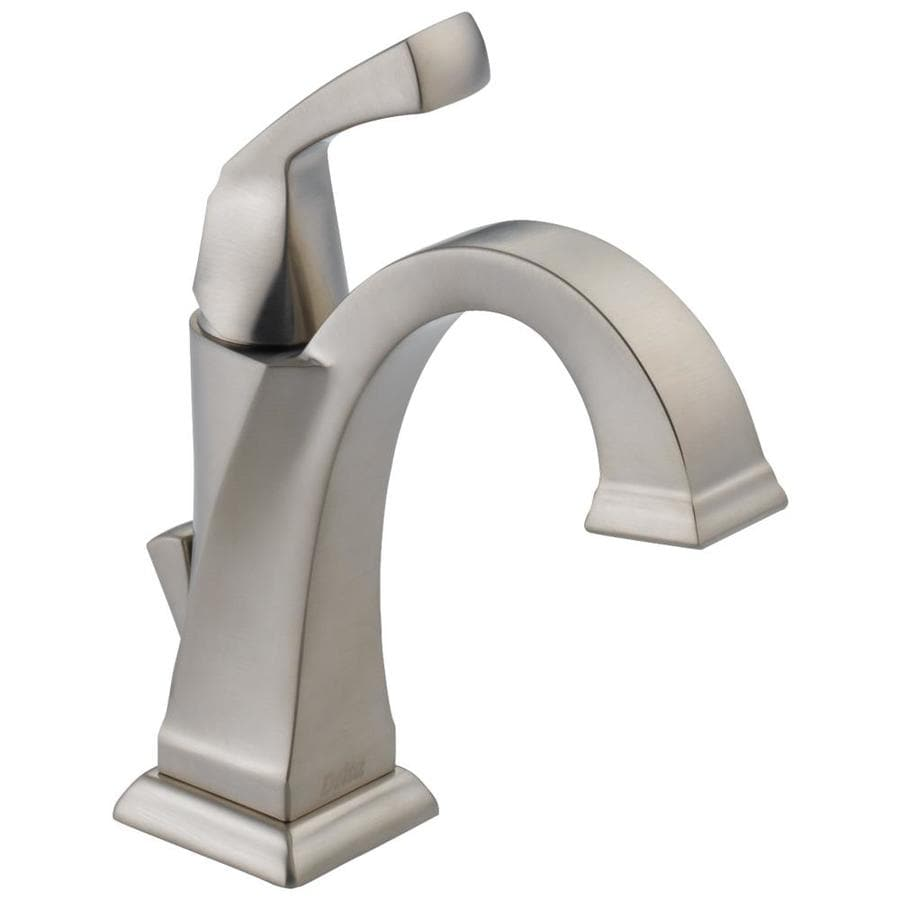 Delta Dryden Spotshield Stainless 1-Handle Single Hole/4-in Centerset WaterSense Bathroom Faucet Drain Included