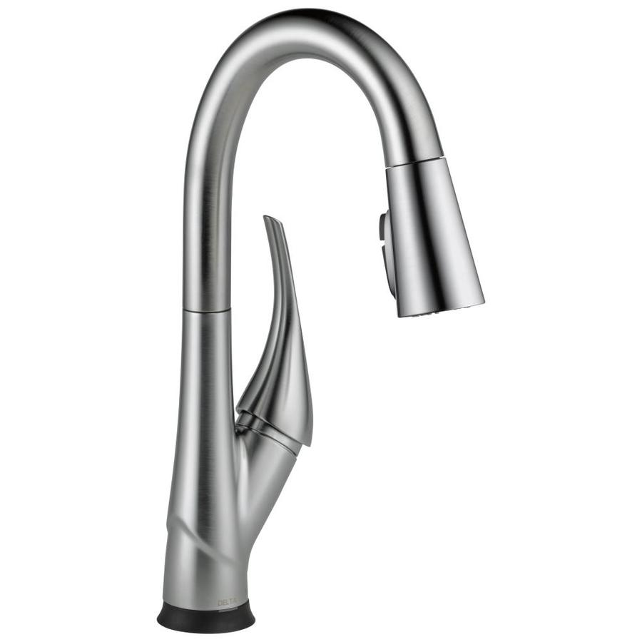Delta Esque with Touch2O Technology Arctic Stainless 1-Handle Bar and Prep Faucet