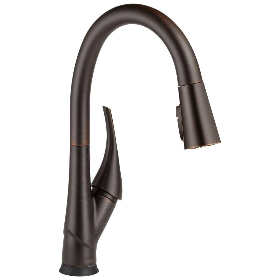 Delta Esque with Touch2O Technology Venetian Bronze 1-Handle Pull-Down Kitchen Faucet