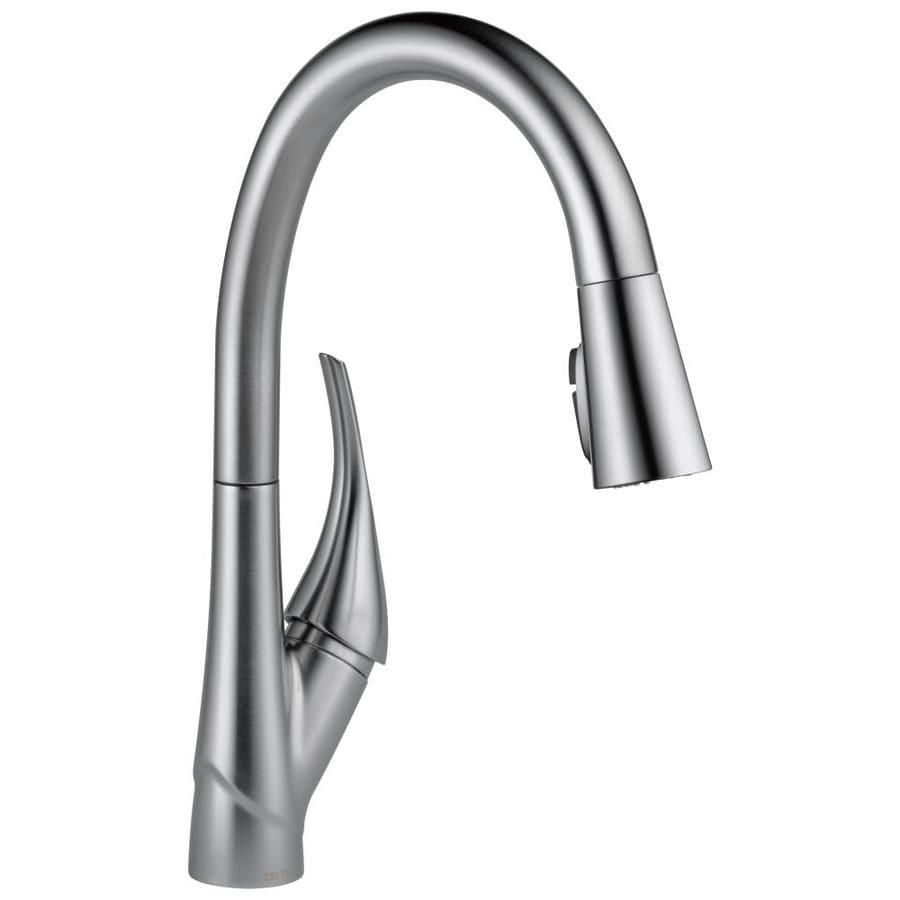 Delta Esque Arctic Stainless 1-handle Deck Mount Pull-down Kitchen Faucet