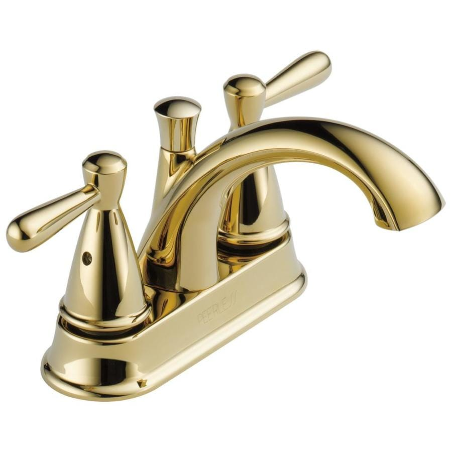 shop peerless bayside polished brass 2-handle 4-in centerset