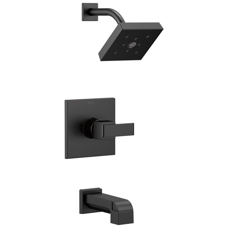 Delta Ara Matte Black 1-Handle Bathtub and Shower Faucet