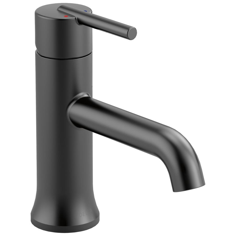 black bathroom sink faucet shop delta trinsic matte black 1 handle single 4 in 17378 | 034449839426
