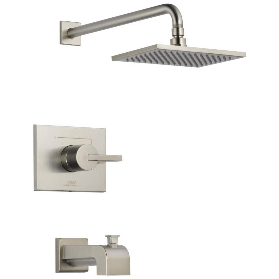 Delta Vero Stainless 1-Handle Bathtub and Shower Faucet Trim Kit with Single Function Showerhead