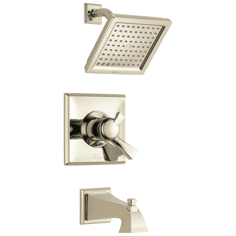 Delta Dryden Polished Nickel 1-Handle WaterSense Tub and Shower with Single Function Showerhead