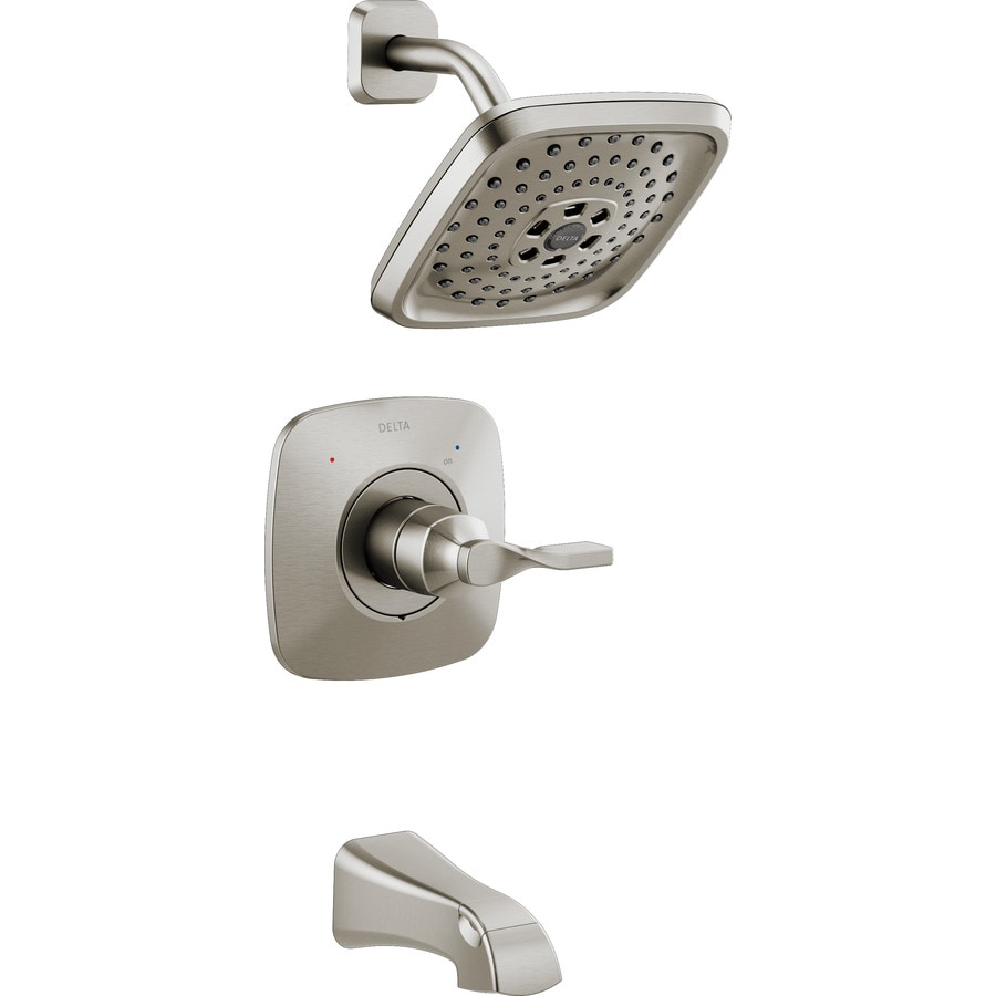 Delta Sawyer Spotshield Brushed Nickel 1-Handle Bathtub and Shower Faucet with Multi-Function Showerhead