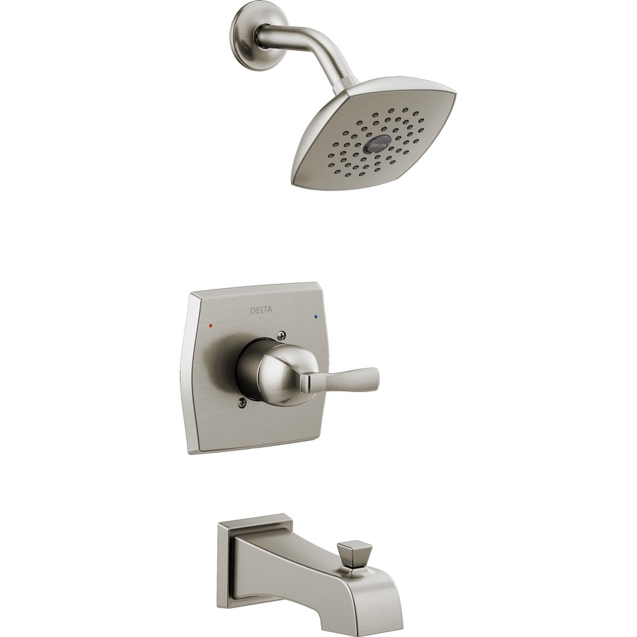 Delta Flynn Stainless 1-Handle Bathtub and Shower Faucet with Valve