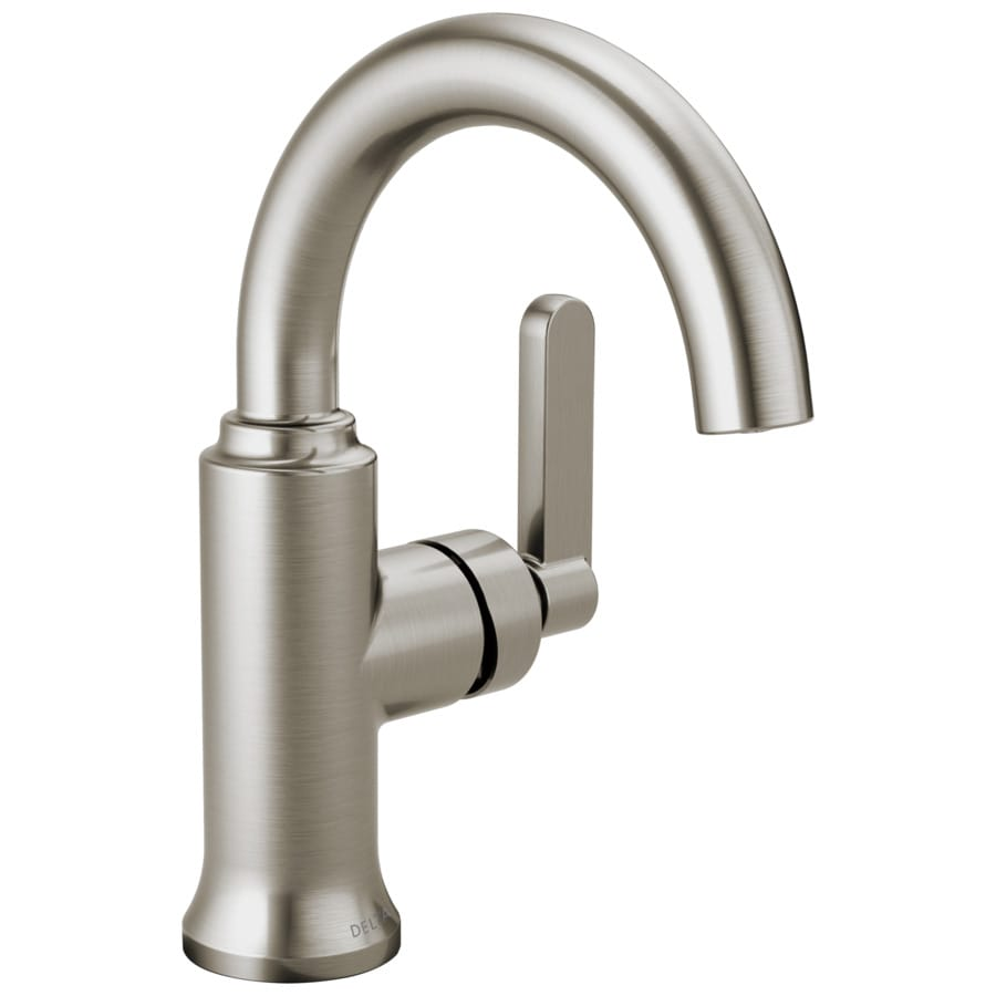 Delta alux spotshield brushed nickel 1 handle single hole - Single hole bathroom faucets brushed nickel ...