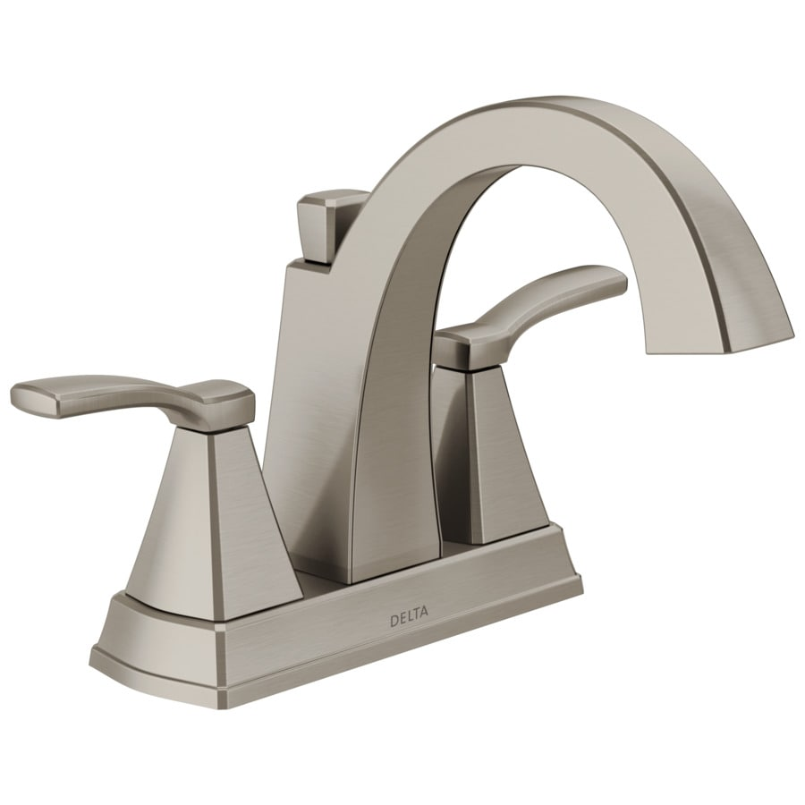 shop delta flynn brushed nickel 2 handle 4 in centerset bathroom