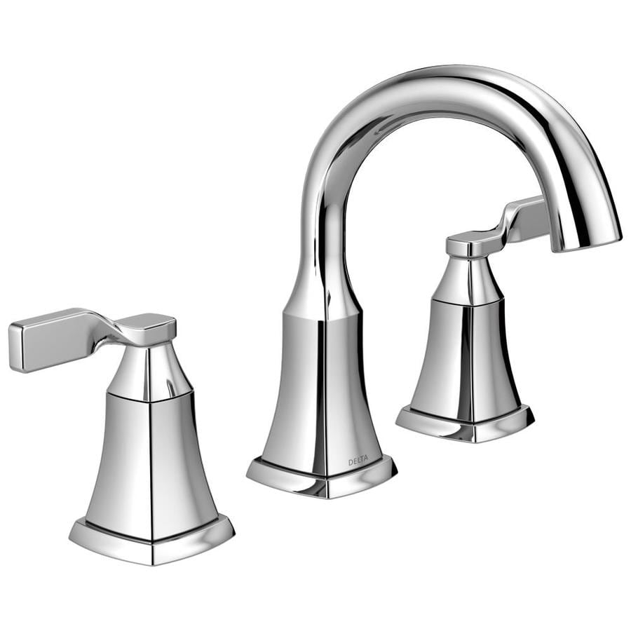 Shop delta sawyer chrome 2 handle widespread bathroom faucet drain included at for Delta widespread bathroom faucet