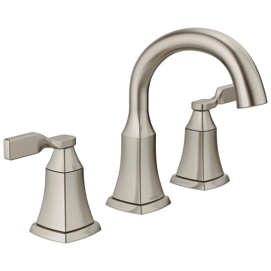 Shop delta sawyer spotshield brushed nickel 2 handle widespread bathroom sink faucet at for Delta widespread bathroom faucet