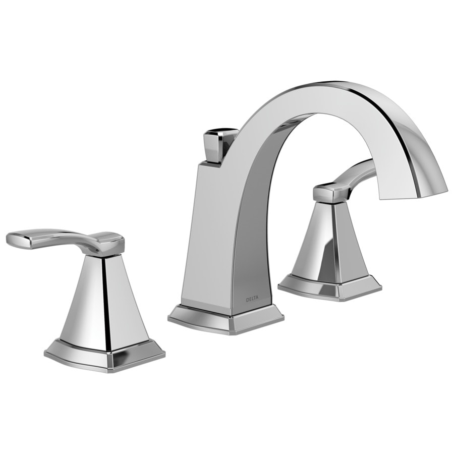 Shop delta flynn chrome 2 handle widespread bathroom sink faucet at for Delta widespread bathroom faucet