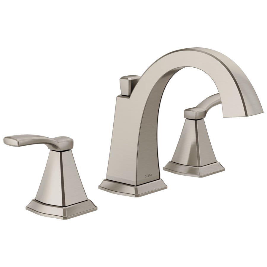 Shop delta flynn brushed nickel 2 handle widespread bathroom sink faucet at for Delta widespread bathroom faucet