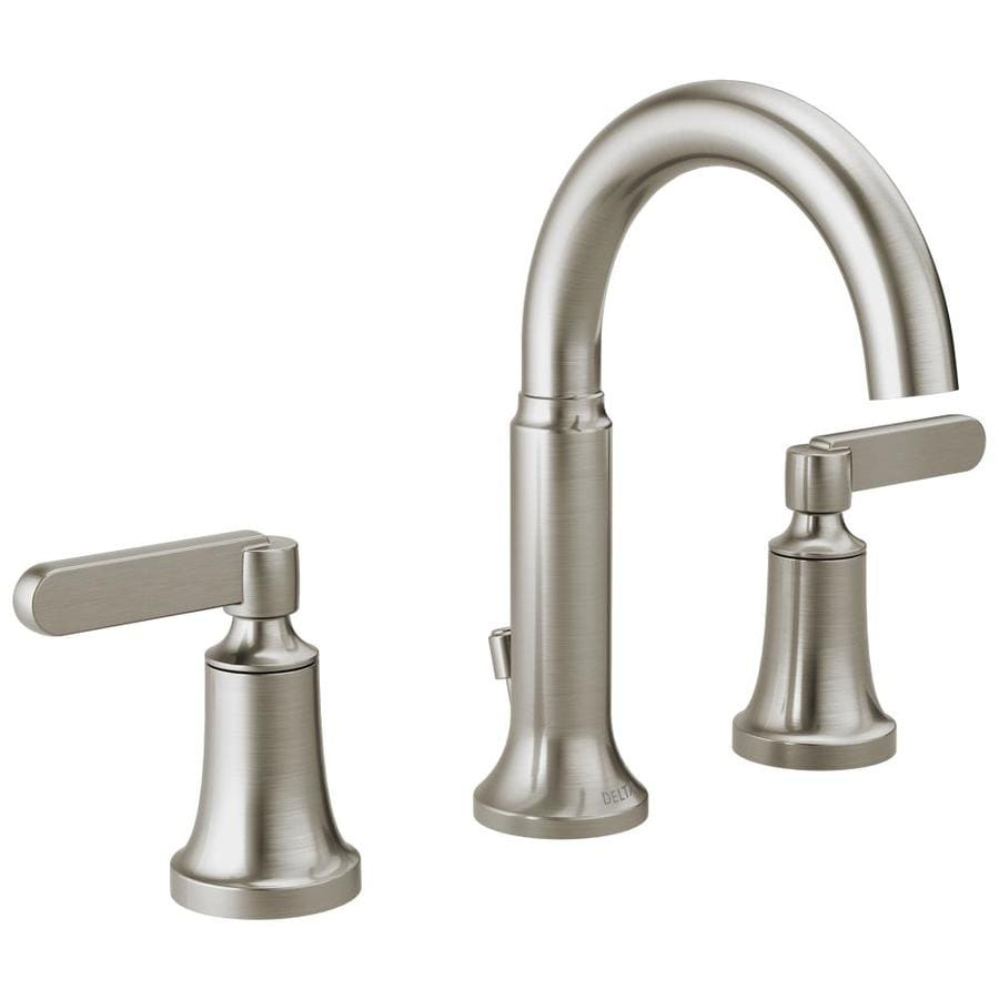 shop delta alux spotshield brushed nickel 2 handle widespread bathroom faucet at. Black Bedroom Furniture Sets. Home Design Ideas