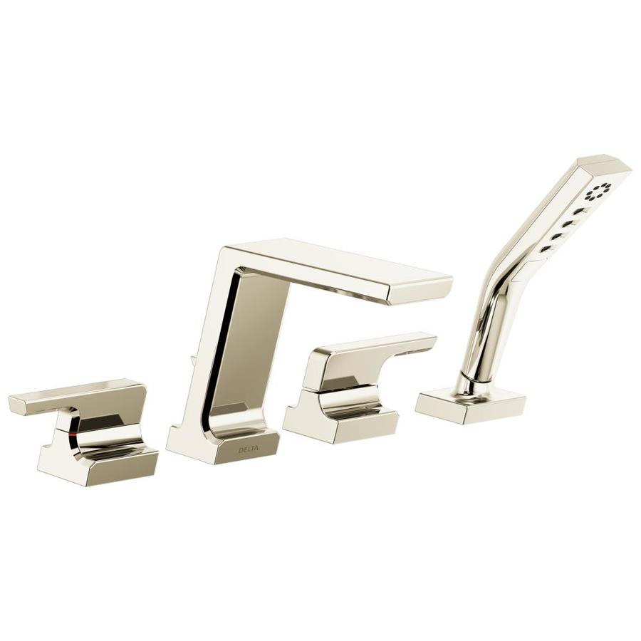 Delta Pivotal Polished Nickel 2-Handle Fixed Deck Mount Bathtub Faucet