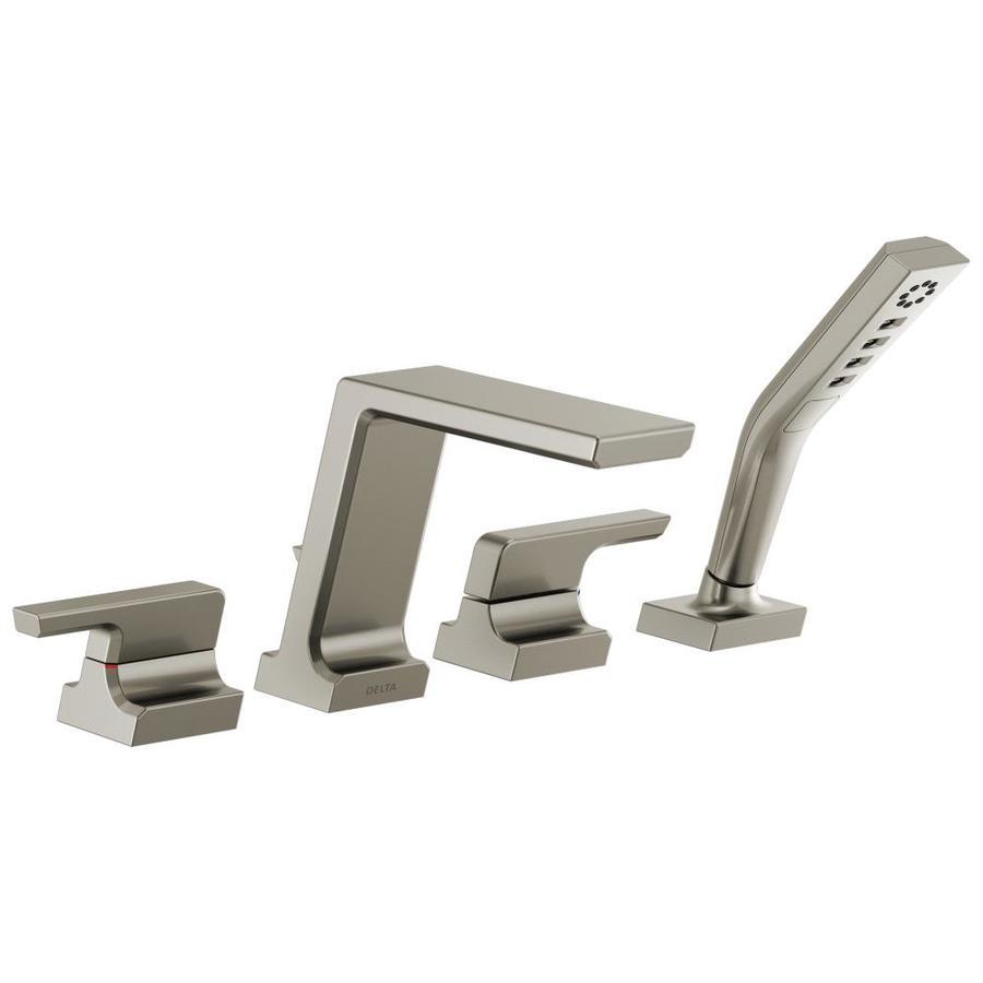 Delta Pivotal Stainless 2 Handle Deck Mount Bathtub Faucet Includes