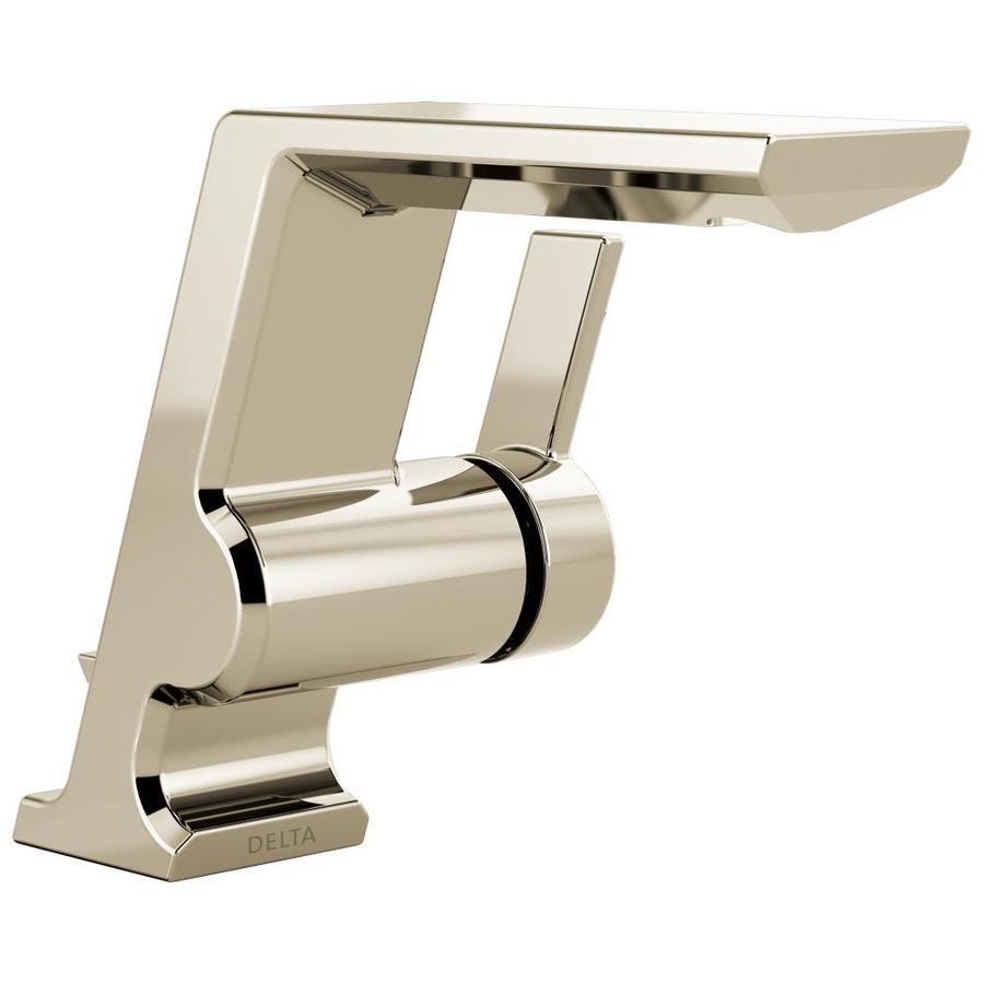 Delta Pivotal Polished Nickel 1-Handle Single Hole/4-in Centerset Bathroom Sink Faucet