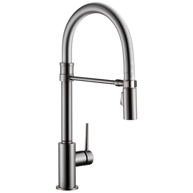 Delta Trinsic Pro Black Stainless 1 Handle Deck Mount Pull Down Handle Kitchen Faucet In The Kitchen Faucets Department At Lowes Com