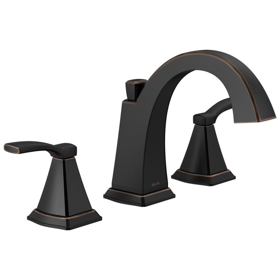 Delta flynn oil rubbed bronze 2 handle widespread watersense bathroom sink faucet with drain