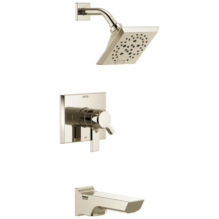 Delta Pivotal Polished Nickel 1-Handle Bathtub and Shower Faucet