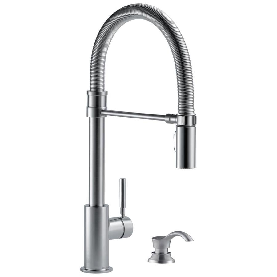 Delta Trask Arctic Stainless 1 Handle Deck Mount Pull Down Kitchen Faucet