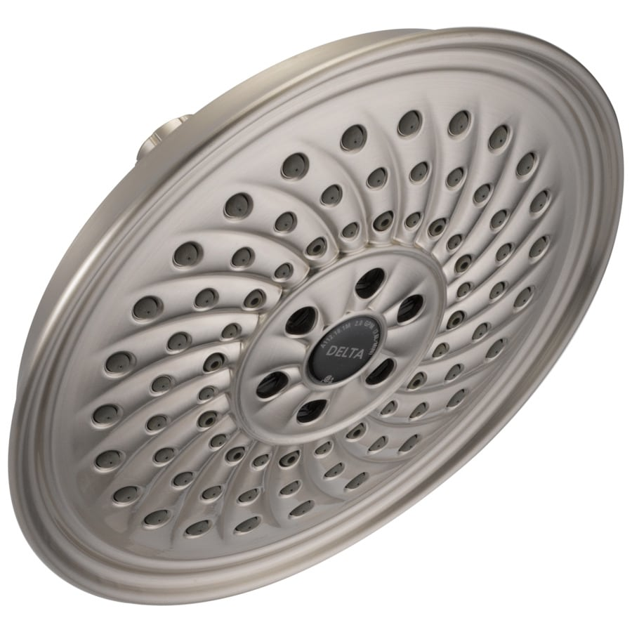 Delta H2okinetic Brushed Nickel 3 Spray Rain Shower Head At Lowes Com
