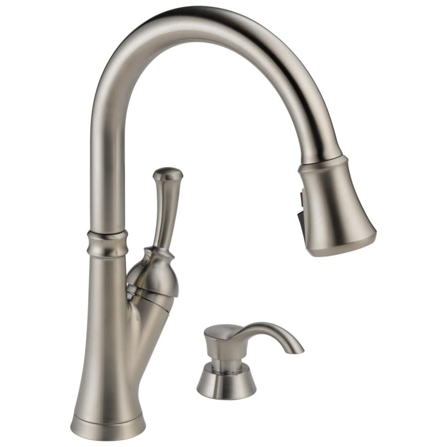 Delta Savile Stainless  Handle Deck Mount Pull Down Kitchen Faucet