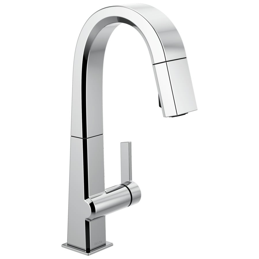 Delta Pivotal Chrome 1 Handle Deck Mount Pull Down Handle Kitchen Faucet In The Kitchen Faucets Department At Lowes Com