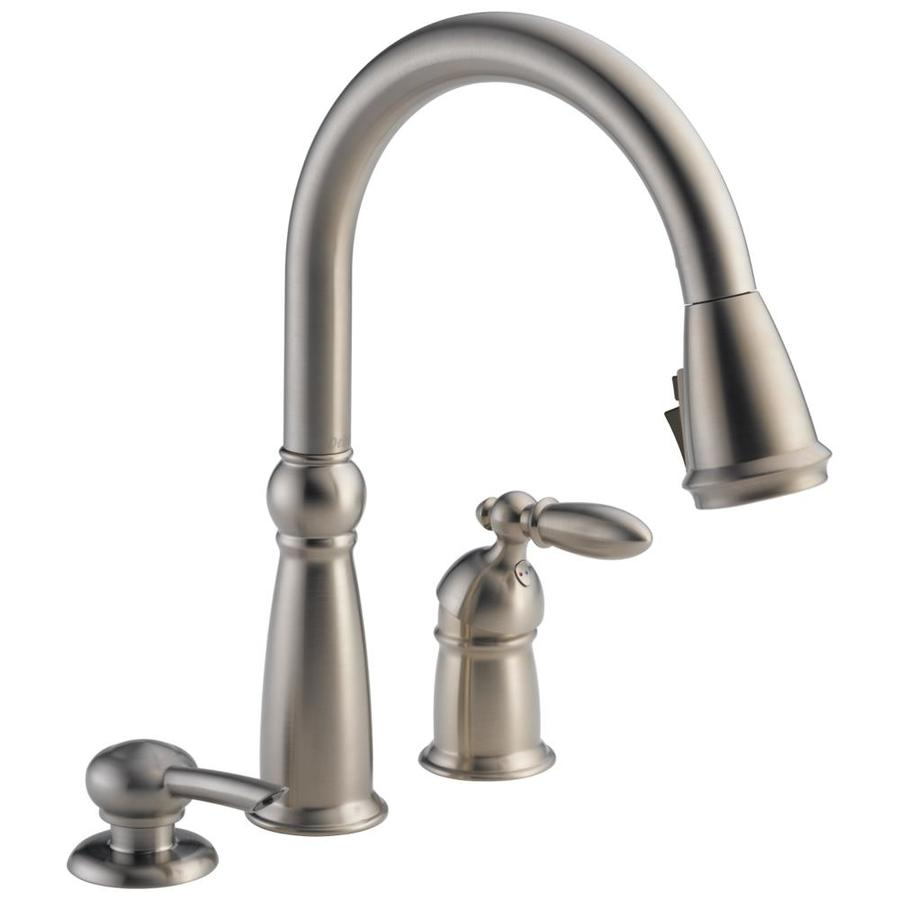 Shop Delta Victorian Stainless 1-handle Deck Mount Pull-down ShieldSpray Kitchen Faucet At Lowes.com