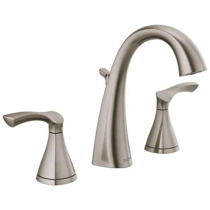 Delta Sandover Spotshield Brushed Nickel 2 Handle Widespread Watersense Bathroom Sink Faucet With Drain In The Bathroom Sink Faucets Department At Lowes Com