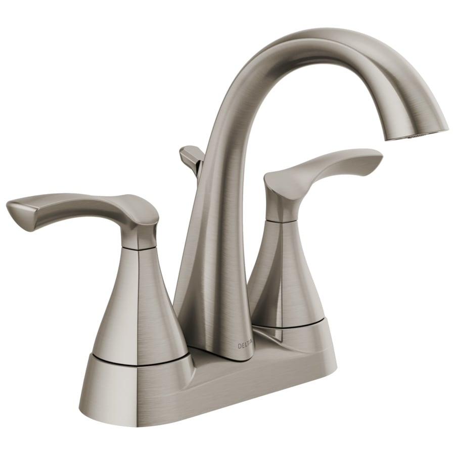"Delta 2-Handle Bathroom Faucet 3-Hole 4/"" Centerset Spot-Resistant Brushed Nickel"