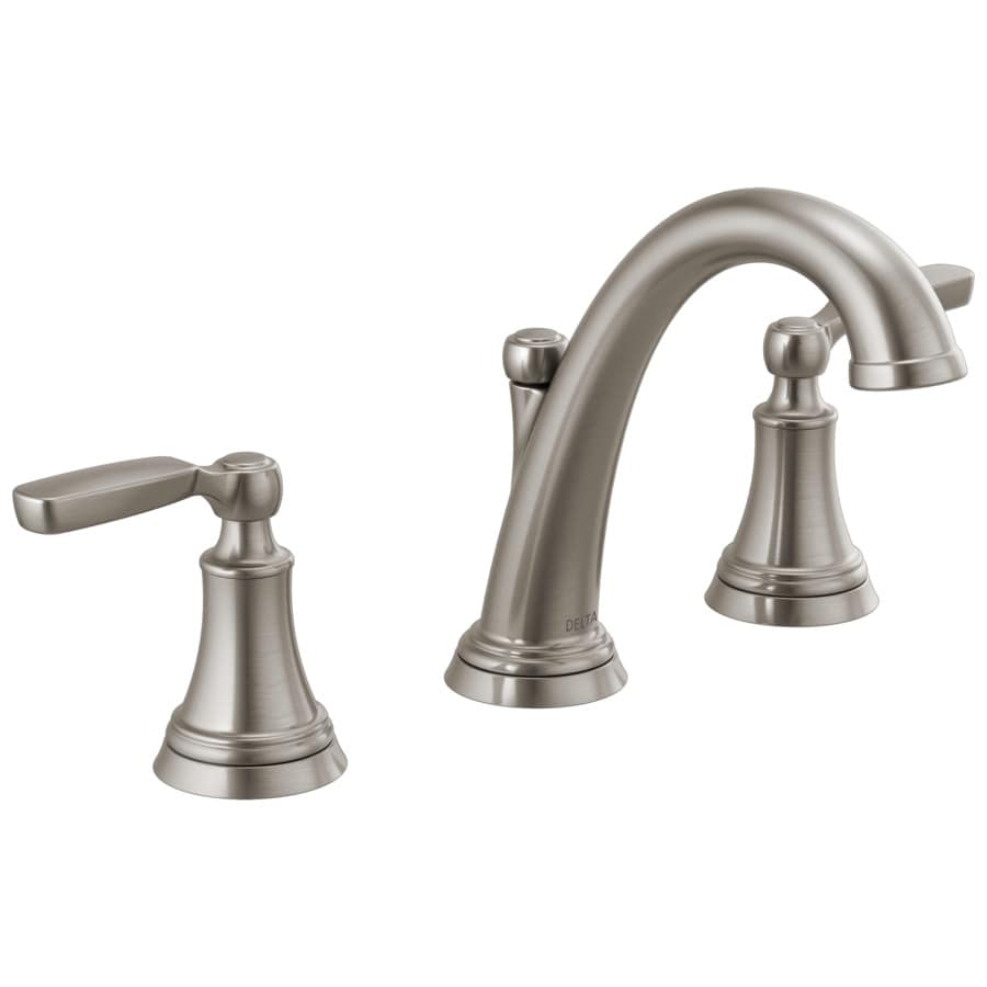 Delta Woodhurst Stainless 2-handle Widespread WaterSense Bathroom Sink Faucet With Drain At