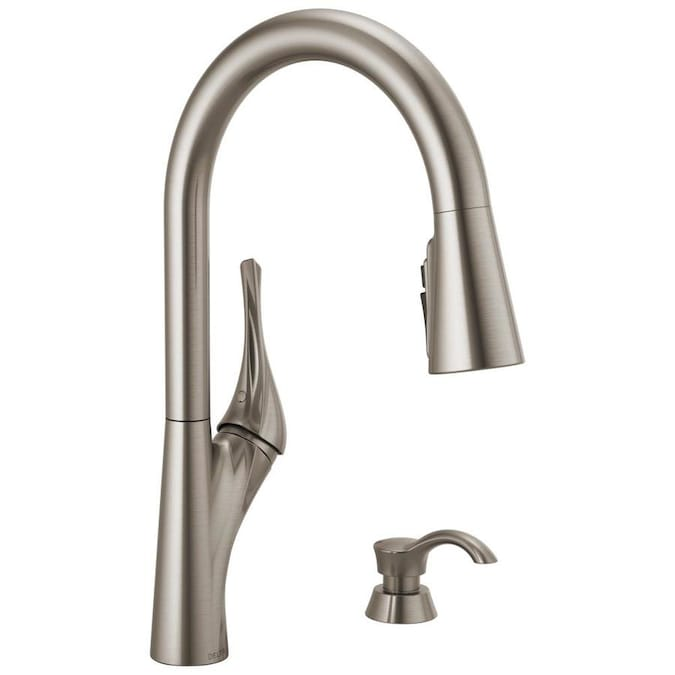 Delta Cason Spotshield Stainless 1 Handle Deck Mount Pull Down Handle Kitchen Faucet Deck Plate Included In The Kitchen Faucets Department At Lowes Com