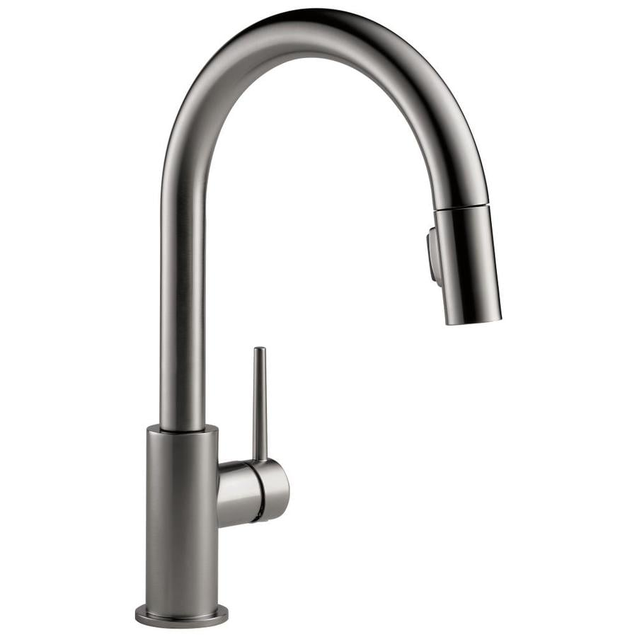Delta Trinsic Black Stainless 1 Handle Pull Down Kitchen Faucet At