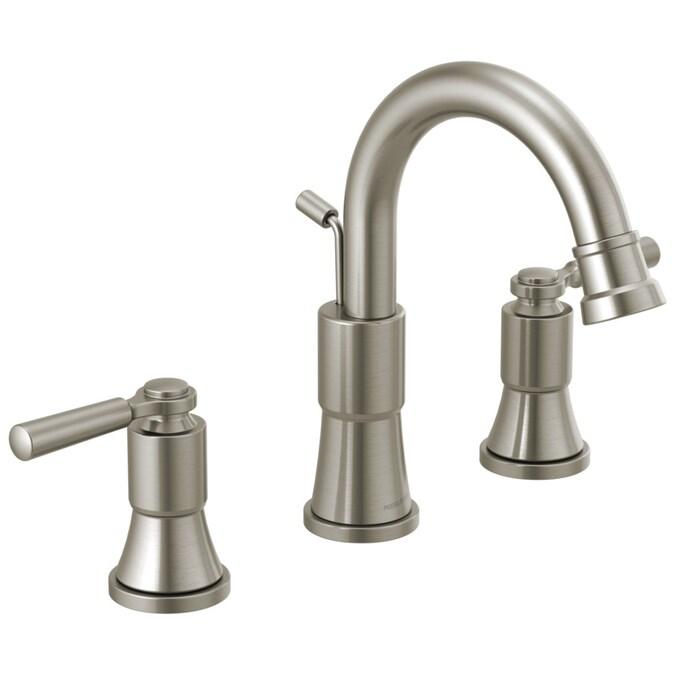 Peerless Westchester Brushed Nickel 2 Handle Widespread Watersense Bathroom Sink Faucet With Drain In The Bathroom Sink Faucets Department At Lowes Com