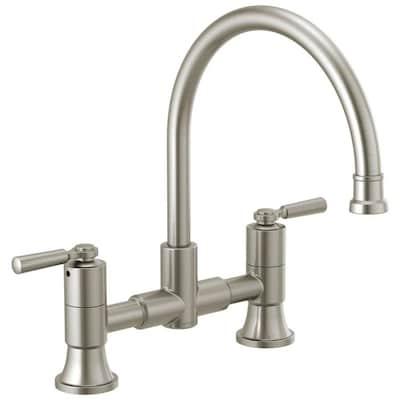 Westchester Stainless 2-handle Deck Mount Bridge Kitchen Faucet