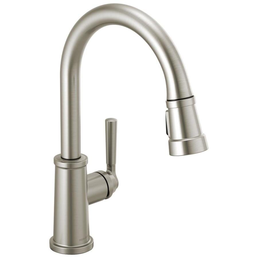 Peerless Westchester Stainless 1 Handle Deck Mount Pull Down Handle Kitchen Faucet In The Kitchen Faucets Department At Lowes Com